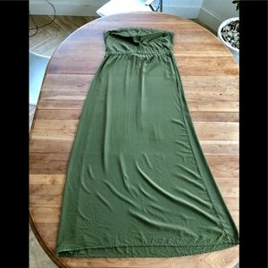 Anthropologie twelfth street Silk olive Maxi L